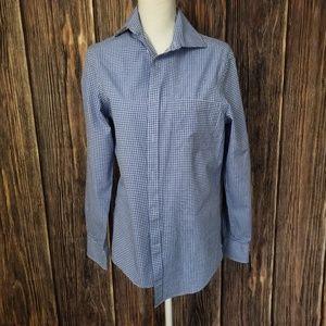Micheal Kors blue plaid button up shirt